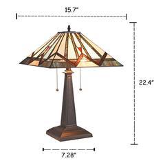 "MANTON Mission 2 Light Blackish Bronze Table Lamp 16"" Wide"