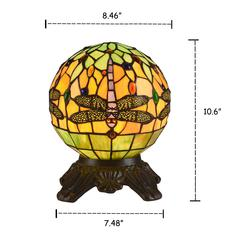 """DEMOISELLE Tiffany-style 1 Light Dragonfly Accent Lamp 8"""" Shade"""