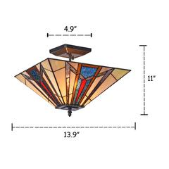 "MAXWELL Mission 2 Light Blackish Bronze Semi-flush Ceiling Fixture 14"" Wide"