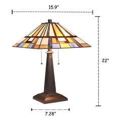 "MERLIN Mission 2 Light Blackish Bronze Table Lamp 16"" Wide"