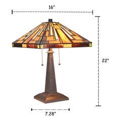 "MERTON Mission 2 Light Blackish Bronze Table Lamp 16"" Wide"