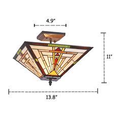"NORMAN Mission 2 Light Blackish Bronze Semi-flush Ceiling Fixture 14"" Wide"
