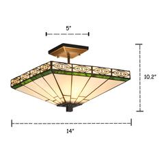 """THEROS Tiffany-style 2 Light Mission Semi-flush Ceiling Fixture 14"""" Shade"""