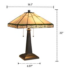 """THEROS Tiffany-style 2 Light Mission Table Lamp 16"""" Shade"""
