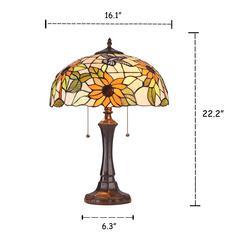 "SARAI Floral 2 Light Dark Bronze Table Lamp 16"" Wide"