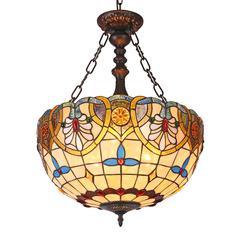 "CHLOE Lighting LIANA Tiffany-style 2 Light Victorian Inverted Ceiling Pendant 18"" Shade"