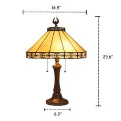 """IDEN Tiffany-style 2 Light Mission Table Lamp 16"""" Shade"""
