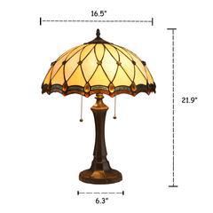 "JOSEPHINE Tiffany-style 2 Light Victorian Table Lamp 16"" Shade"