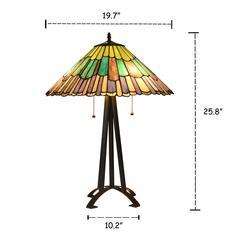 "LANDRY Tiffany-style 3 Light Geometric Table Lamp 20"" Shade"