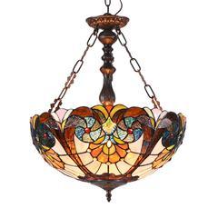 "CHLOE Lighting SHEA Tiffany-style 2 Light Victorian Inverted Ceiling Pendant 18"" Shade"