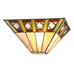 """CHLOE Lighting GILES Tiffany-style 1 Light  Mission Indoor Wall Sconce 12"""" Wide"""