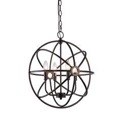 "CHLOE Lighting OSBERT Industrial-style 4 Light Rubbed Bronze Ceiling Pendant 16"" Wide"