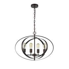 "CHLOE Lighting OSBERT Industrial-style 4 Light Rubbed Bronze Ceiling Pendant 24"" Wide"