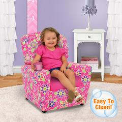 Kid's Recliner with Cupholder - Daisy Doodle with Passion Pink