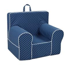 Classic Grab-n-go Kid's Foam Chair with handle - Mini Dot Navy with White Welt