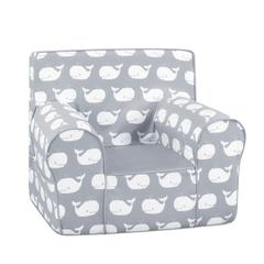 Grab-n-go Kid's Foam Chair with handle - Whale Tales Storm White Twill with Pebbles