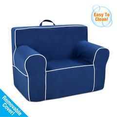 Tween Grab-n-go Foam Chair with handle - Navy with White welt