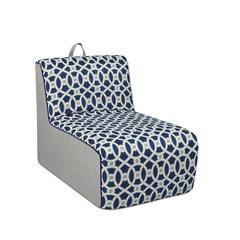 Tween Lounger w/handle - Loopy Navy with Pebbles and Navy welt trim