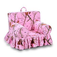 Addison Skirted Grab-n-go Kid's Foam Chair with handle - Mossy Oak Lifestyle Pink with matching welt
