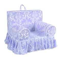 Addison Skirted Grab-n-go Kid's Foam Chair with handle - Ozborne Wisteria with white welt