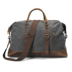 Grey, Washed Canvas Genuine Leather Traveling Bag
