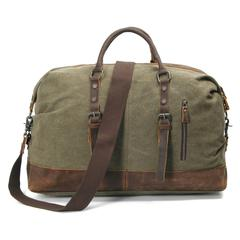 Olive, Washed Canvas Genuine Leather Traveling Bag