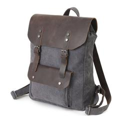 Grey, Washed Canvas Genuine Leather Backpack