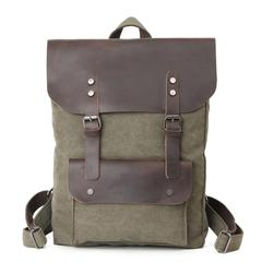 Olive, Washed Canvas Genuine Leather Backpack