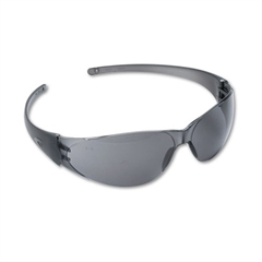 Checkmate Wraparound Safety Glasses, Clear Polycarbonate Frame, Gray Lens