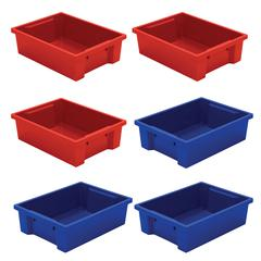 Best-Rite Tubs - Set Of 6 (3 Red, 3 Blue)
