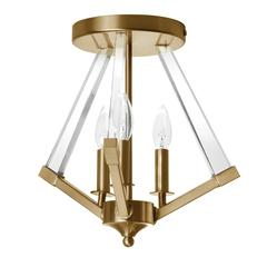 3LT Semi-Flush Age Bronze with Acrylic Arms