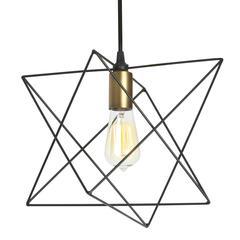 1LT Wire Frame Triangular Pendant, BK/VB