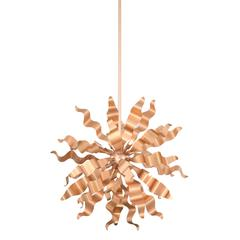 6LT Pendant with Metal Wavelet Ribbons, RG Finish