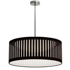 22W Slit Drum LED Pendant, Black Shade