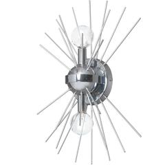 2Lt Wall Sconce, Silver & Polished Chrome Finish