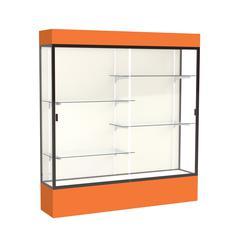 "Spirit  72""W x 80""H x 16""D  Lighted Floor Case, Plaque Back, Dk. Bronze Finish, Orange Base and Top"