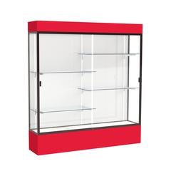 """Spirit  72""""W x 80""""H x 16""""D  Lighted Floor Case, White Back, Dk. Bronze Finish, Red Base and Top"""
