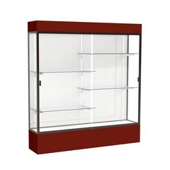 """Spirit  72""""W x 80""""H x 16""""D  Lighted Floor Case, White Back, Dk. Bronze Finish, Maroon Base and Top"""
