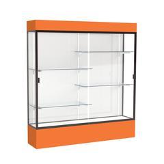 "Spirit  72""W x 80""H x 16""D  Lighted Floor Case, White Back, Dk. Bronze Finish, Orange Base and Top"