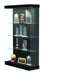 "Vantage  48""W Modern Floor Case Wood Laminate, LED Lighting, Sliding Door Right, Black"