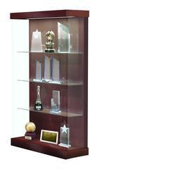 "Vantage  48""W Modern Floor Case Wood Laminate, LED Lighting, Sliding Door Right, Cherry"