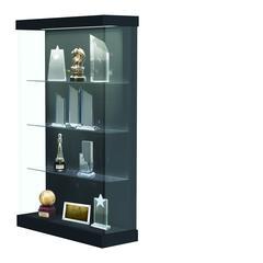 "Vantage  48""W Modern Floor Case Wood Laminate, LED Lighting, Sliding Door Right, Carbon Mesh"