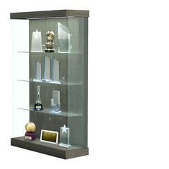 "Vantage  48""W Modern Floor Case Wood Laminate, LED Lighting, Sliding Door Right, Elm"