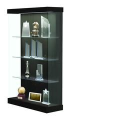 "Vantage  48""W Modern Floor Case Wood Laminate, LED Lighting, Sliding Door Right, Ebony Recon"