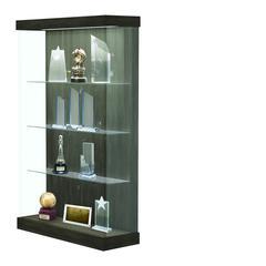 "Vantage  48""W Modern Floor Case Wood Laminate, LED Lighting, Sliding Door Right, Studio Teak"