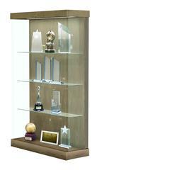 "Vantage  48""W Modern Floor Case Wood Laminate, LED Lighting, Sliding Door Right, Uptown Walnut"