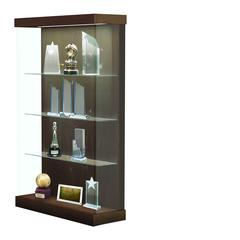 "Vantage  48""W Modern Floor Case Wood Laminate, LED Lighting, Sliding Door Right, Walnut Heights"