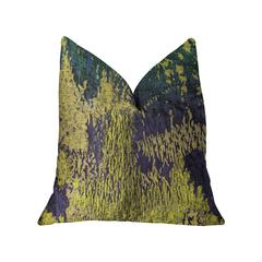 """Plutus Emerald Rainforest Green, Yellow and Blue Luxury Throw Pillow ,Double sided  20"""" x 36"""" King"""