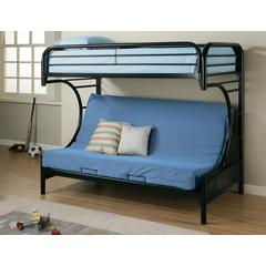 Coaster Contemporary Glossy Black Futon Bunk Bed  78.5x41.75x64.5 Inch