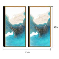 "Ocean Waves 2 Piece Set Framed Wrapped Canvas Wall Art Giclee Print White-Capped Crashing Waves Abstract Geometric Design Stretched Ready to Hang, 30"" x 31"""